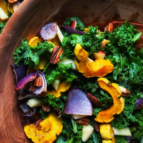 fall harvest salad delicata squash and onion and apple with kale