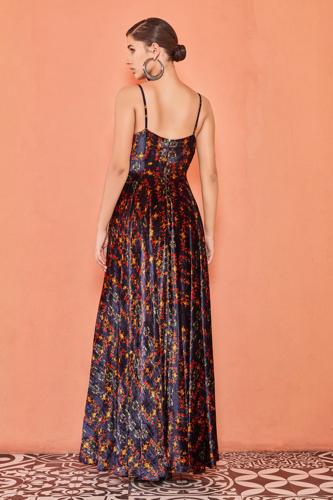 VELVET PRINTED STRAPPY LONG DRESS