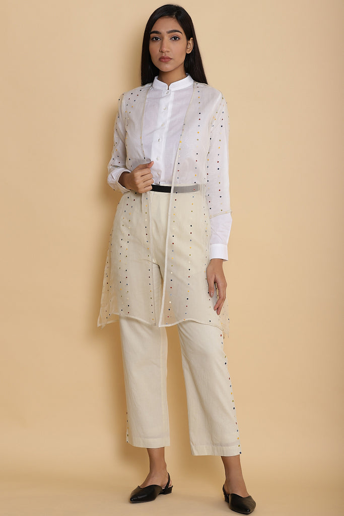 Silk Organza With Multicolor Dot Embroidery Jacket