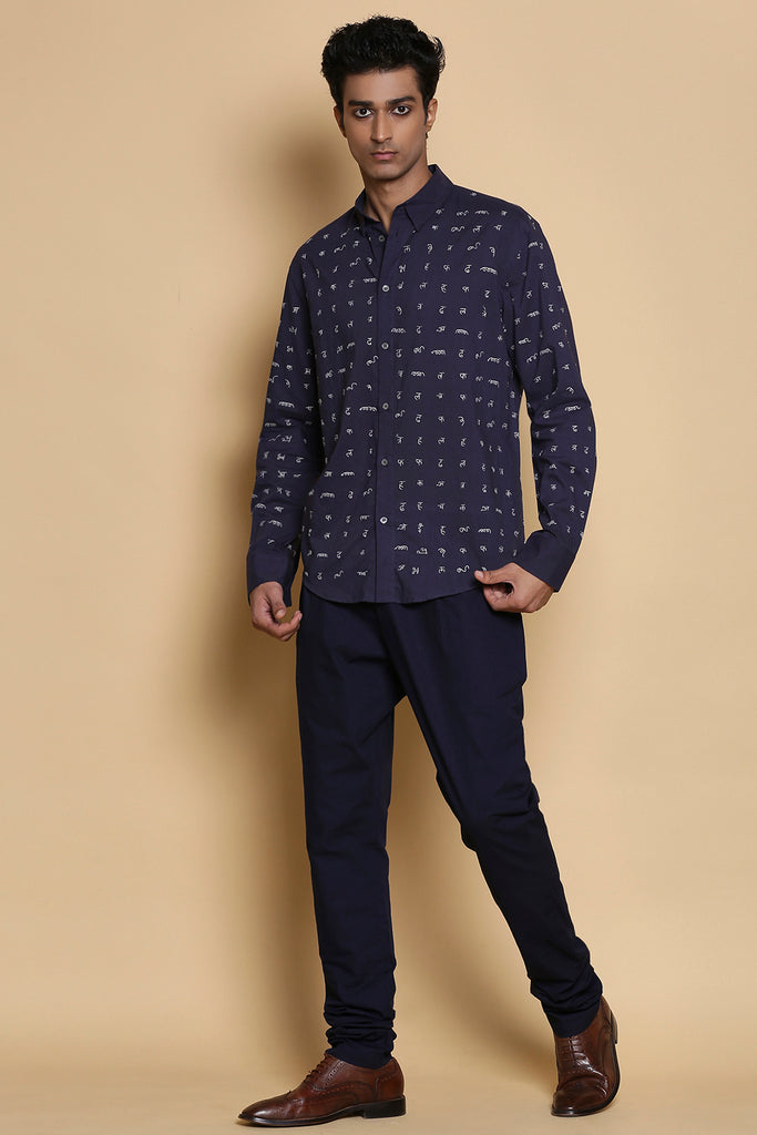 Indigo Calligraphy Embroidered Cotton Shirt