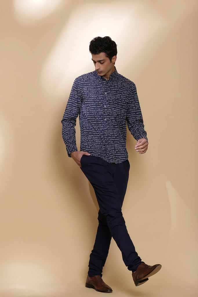 Indigo Calligraphy Embroidered Regular-Fit Cotton Shirt