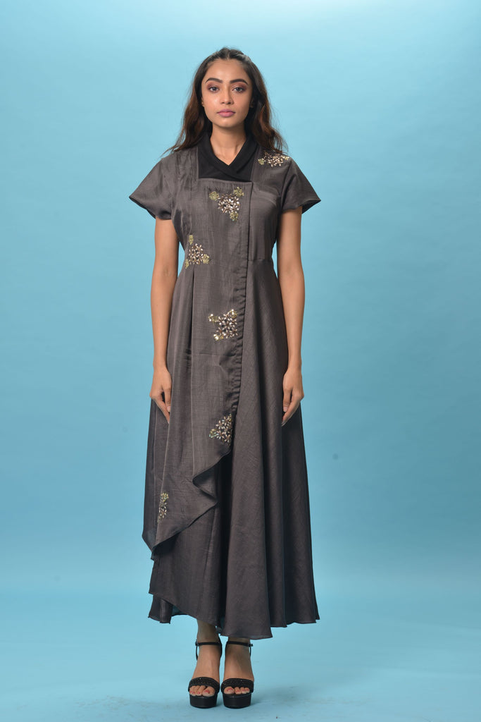Charcoal Grey Dress With Embroidered Motifs