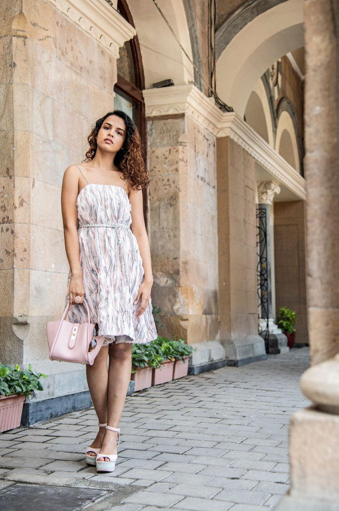 Pink and grey loose fit texture dress