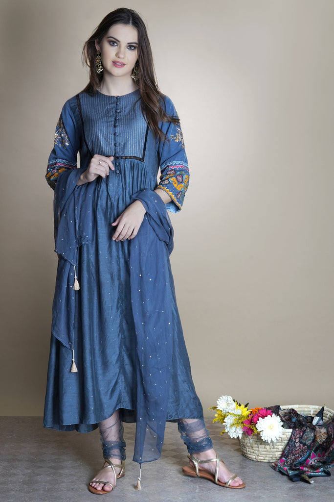 suzani applique gathered kurta set