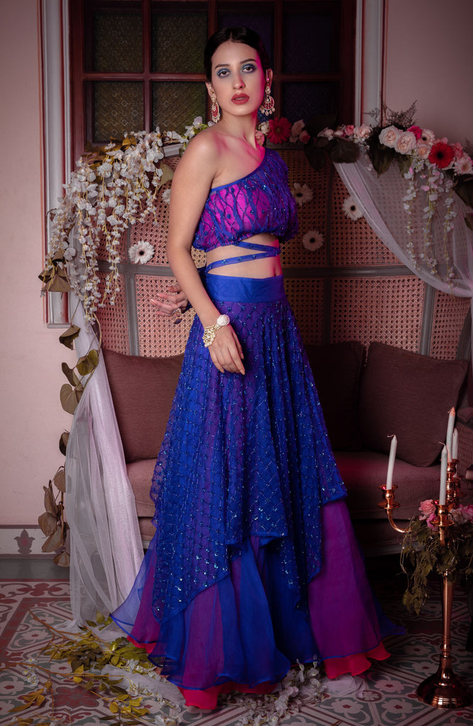 ONE SHOULDER CHOLI WITH HANDKERCHEIF LEHENGA