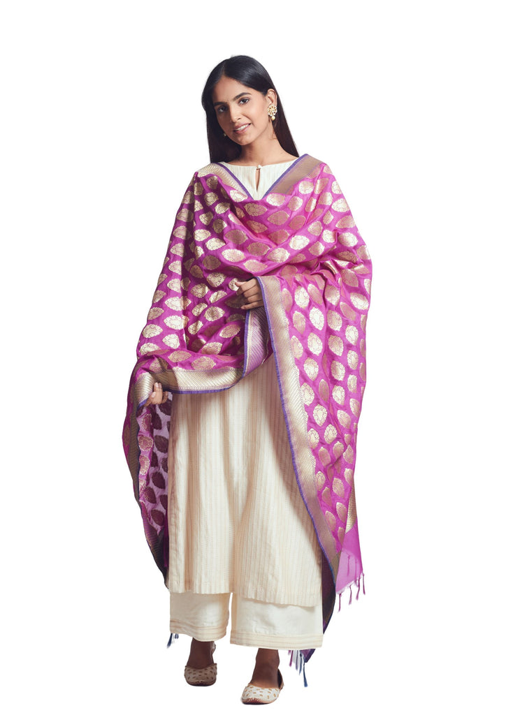 Bright Purple Silk Banarsi Dupatta