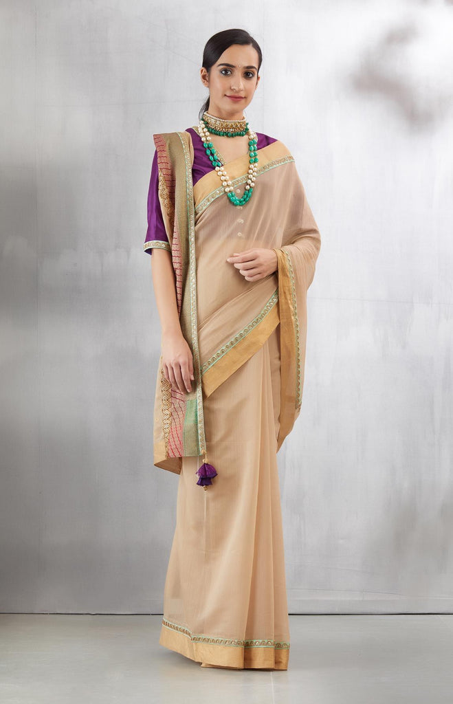 Beige And Mint Chanderi Lustre Sari Set