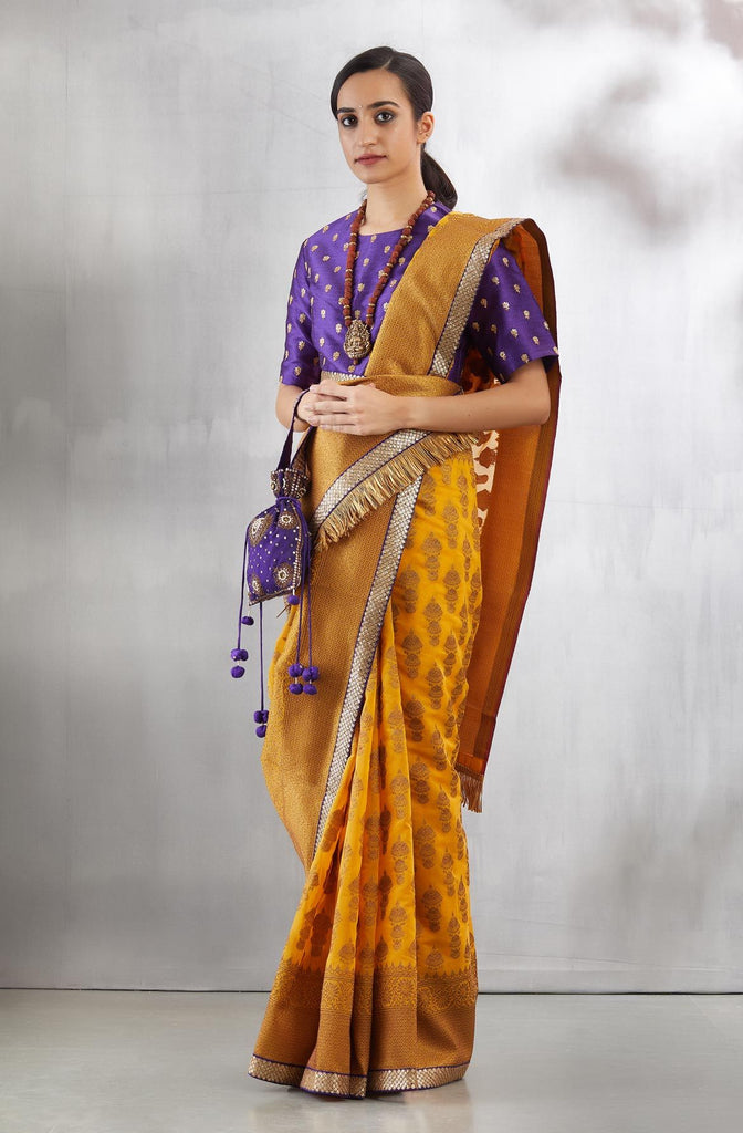 Mustard Yellow Guruvayoor Sari Set