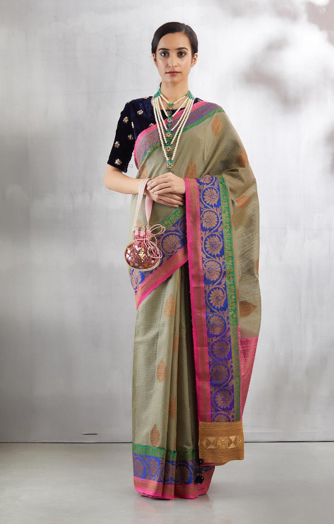 Light Grey Banaras Revisited Sari Set