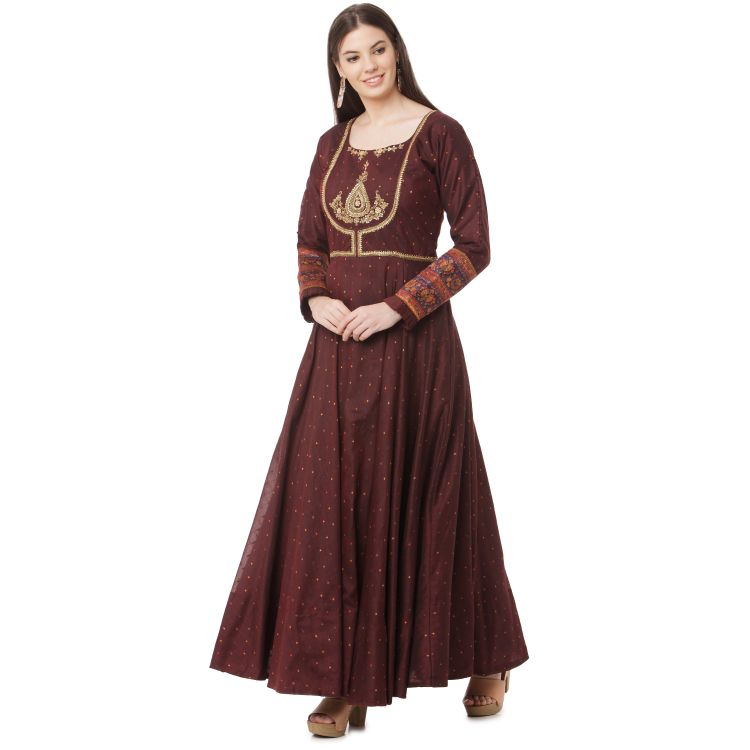 Maroon polka dot chanderi anarkali along with kashmiri pashmina dupatta