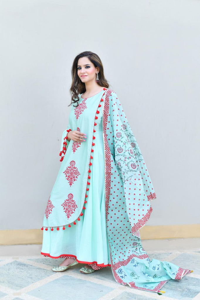 Blue kurta set with dupatta