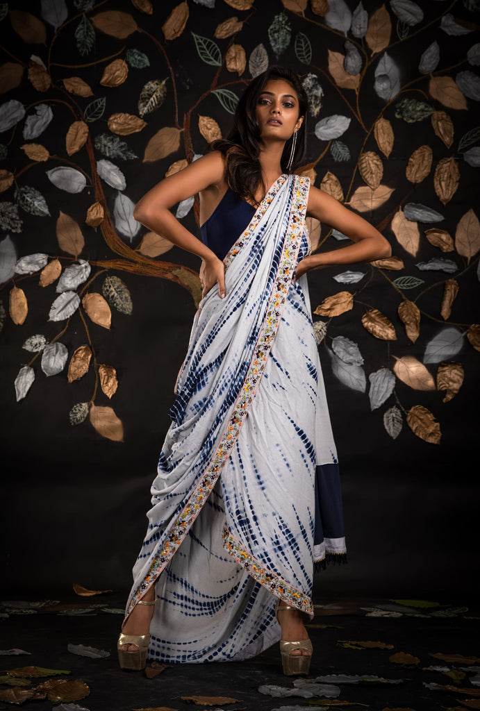 THE CLASSY SPLASH- DRAPED TIE-DYE SAREE
