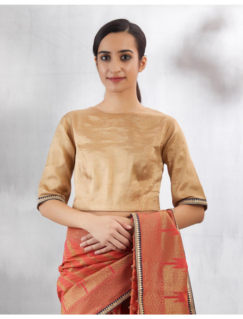 Rust Gold Guruvayoor Sari Set
