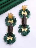 Twin Tassel Green Earrings