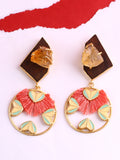 Heart Wheel Peach Earrings