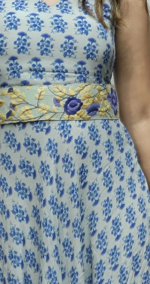 Fleur De Lys Printed Dress with Embroidered Belt