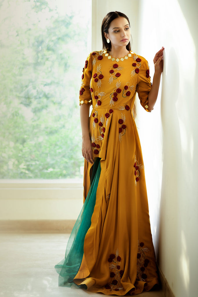 Mustard assymetric gown with teal skirt