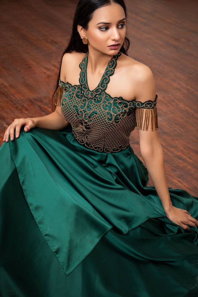 Bottle green assymetric layered gown