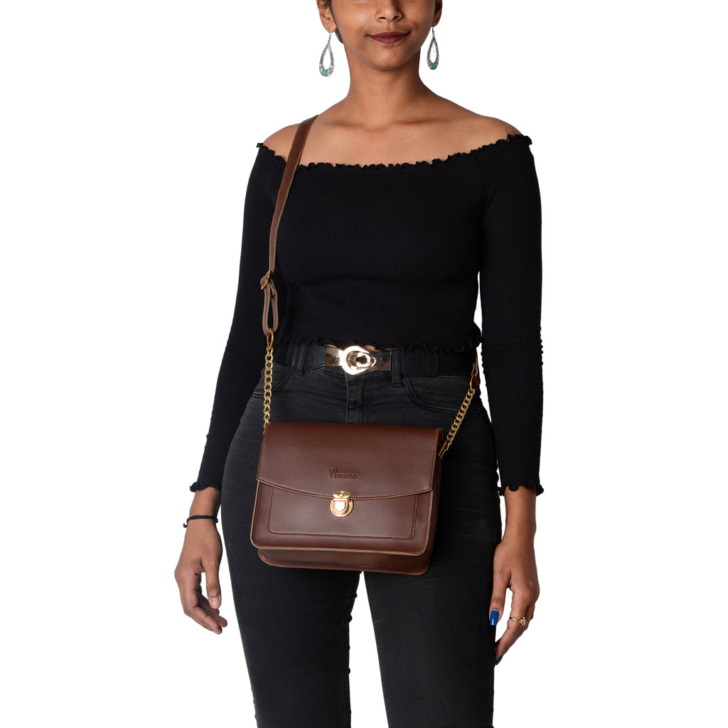 Leatherette Sling Bag in Coffee