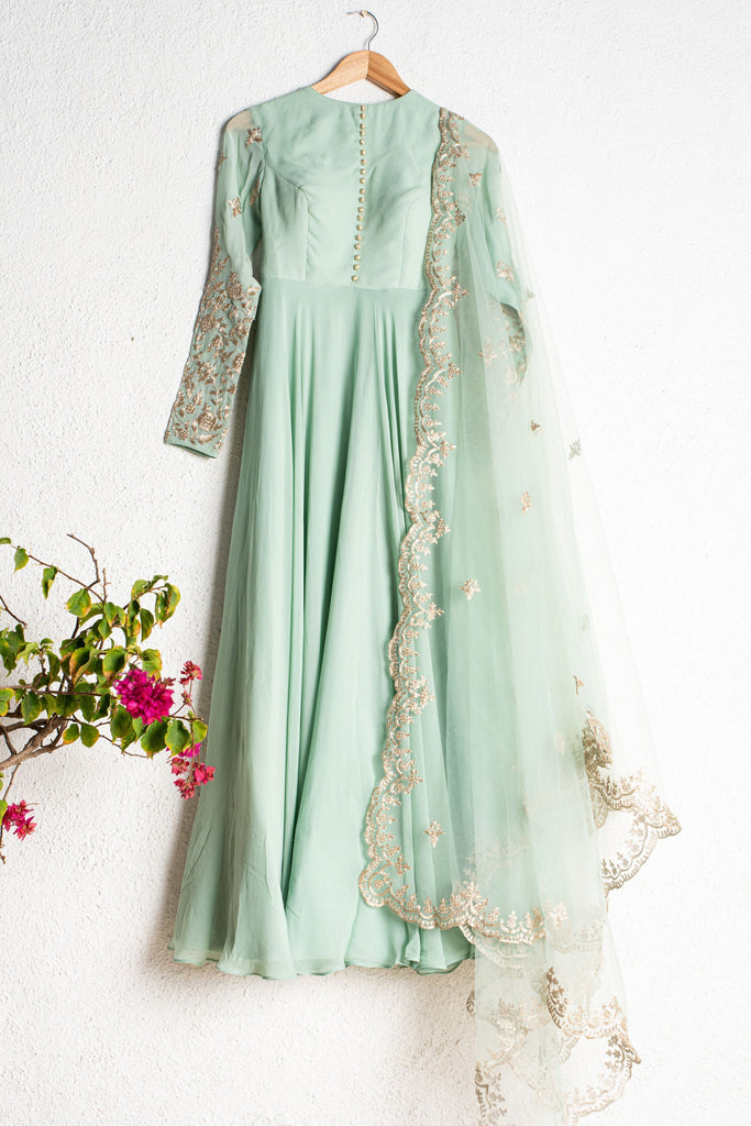 HIMALAYAN MINT GREEN ANARKALI WITH SCALLOP EMBROIDERED DUPATTA
