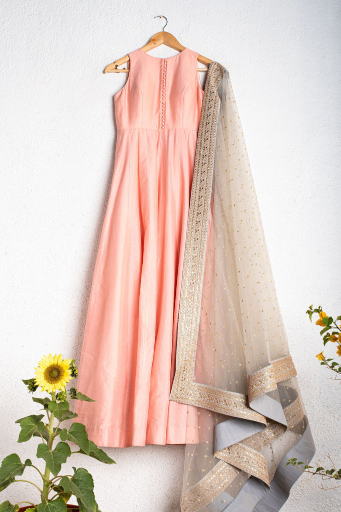 CORAL SALMON ANARKALI WITH PEARL RIVER GREY DUPATTA
