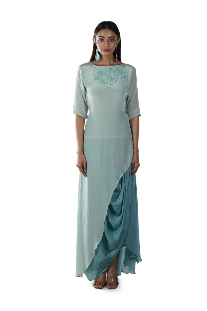Green Rose Hand Embroidered Asymmetrical Tunic paired with a Draped Skirt