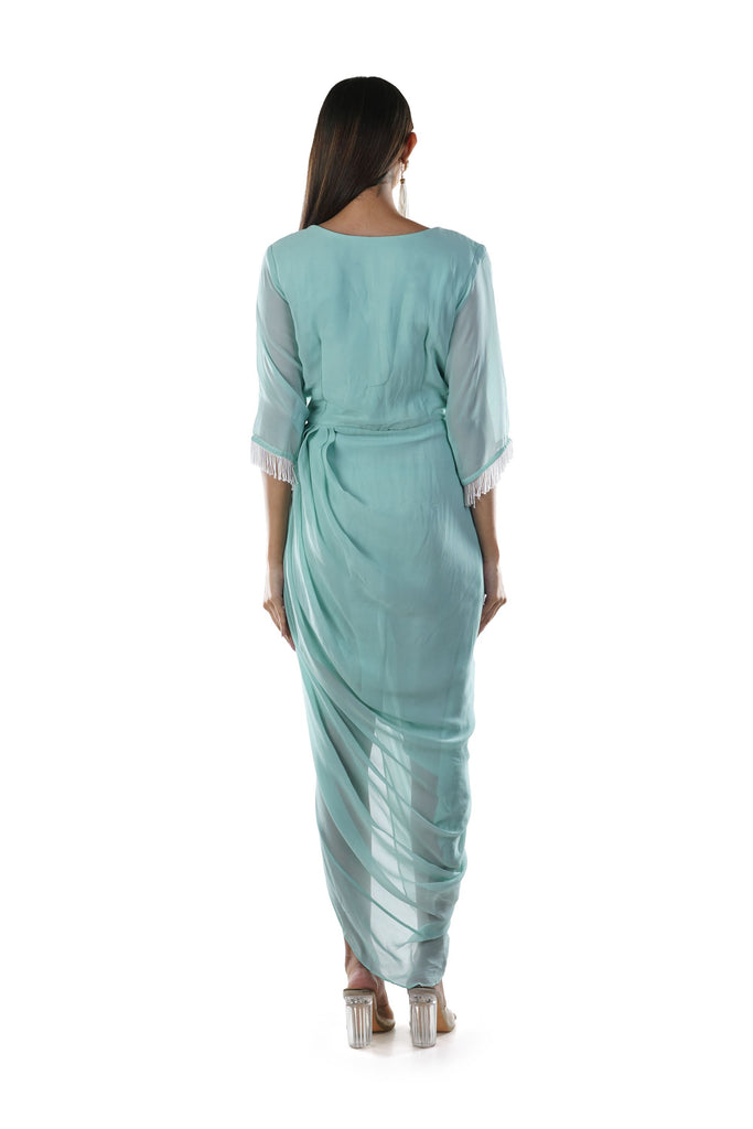 Aqua Green Floral Embroidered Draped Dress with a Chain & Tassels Enhancement