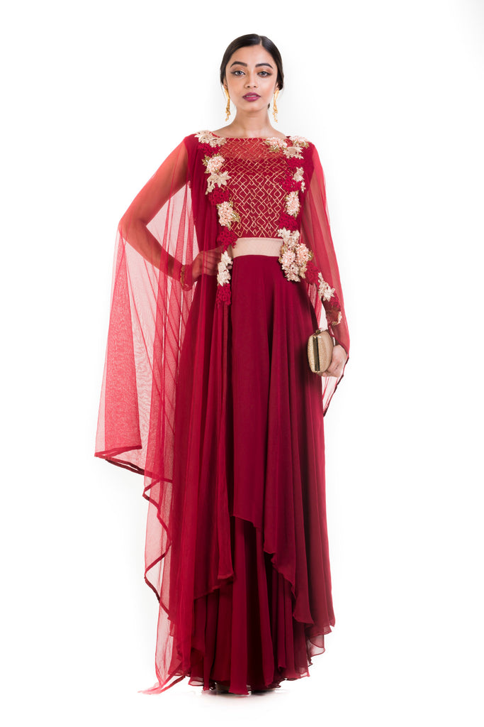 Wine layered Suit Set With Attached Dupatta.