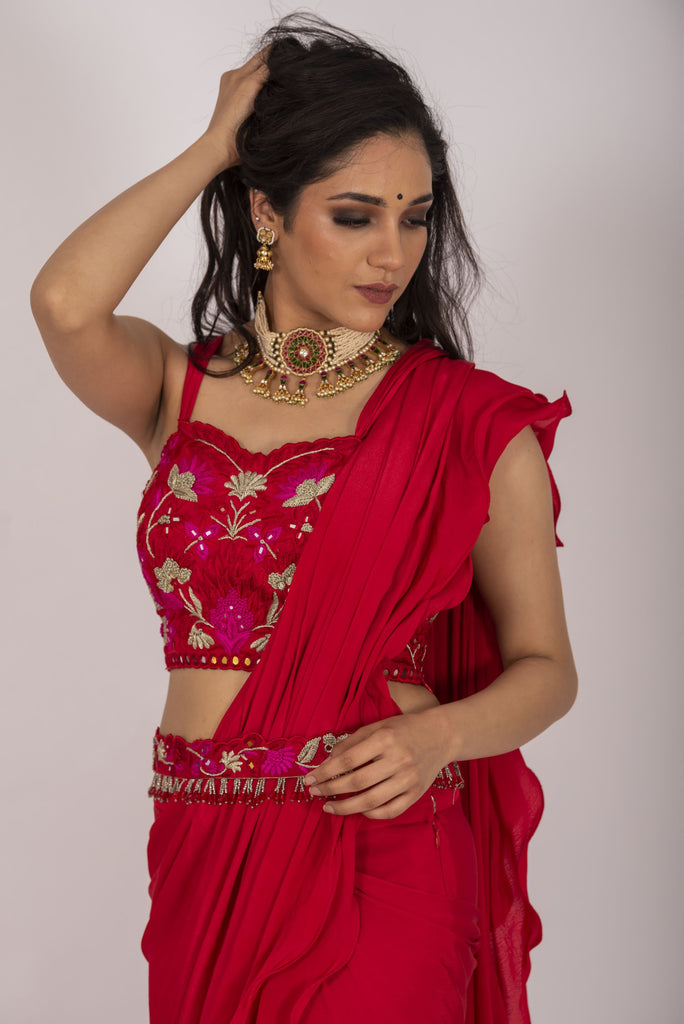 Blush red drape saree with belt