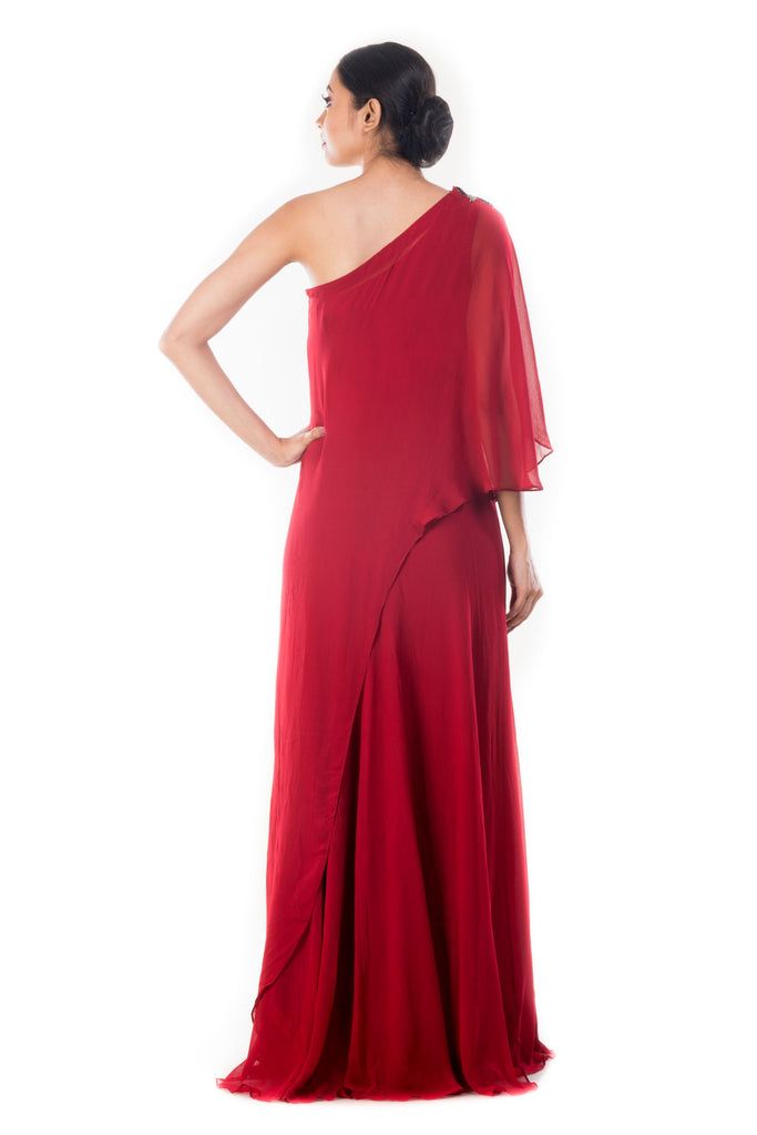 Wine drop Shoulder Cape Dress