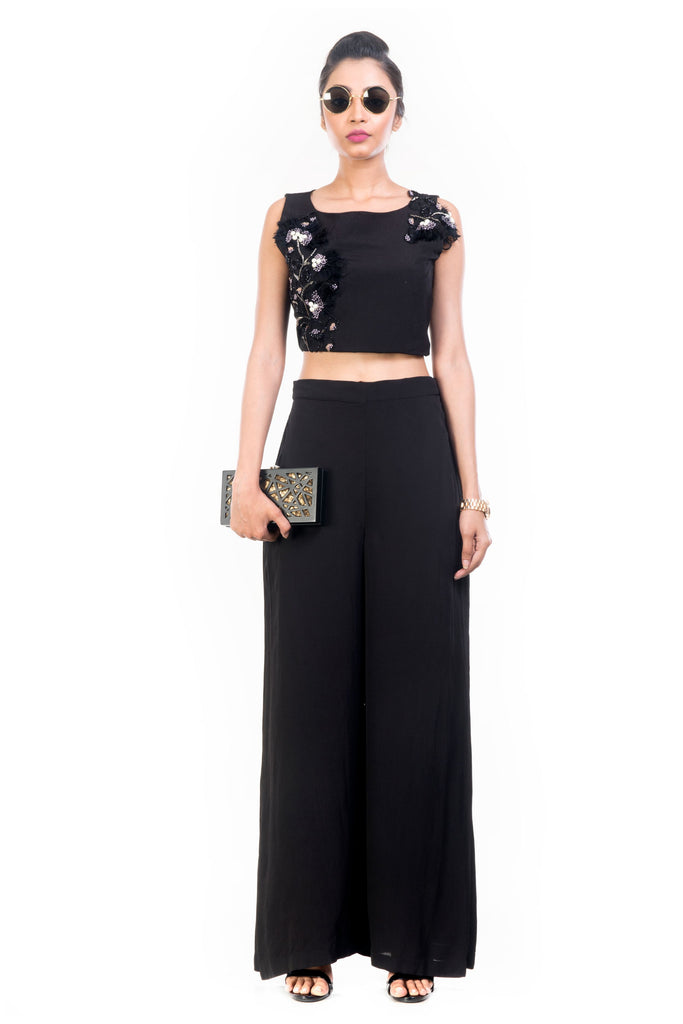 Black Feather Crop Top Palazzo Set