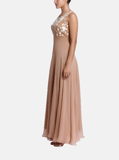 Embroidered chiffon structured gown