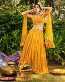 LUREX GEORGETTE LEHENGA WITH SCALLOPED MIRROR WORK BLOUSE AND DUPATTA