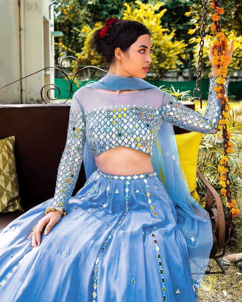 V-HEM HEAVY MIRROR WORK BLOUSE WITH CREPE MIRROR WORK LEHENGA AND TULLE DUPATTA