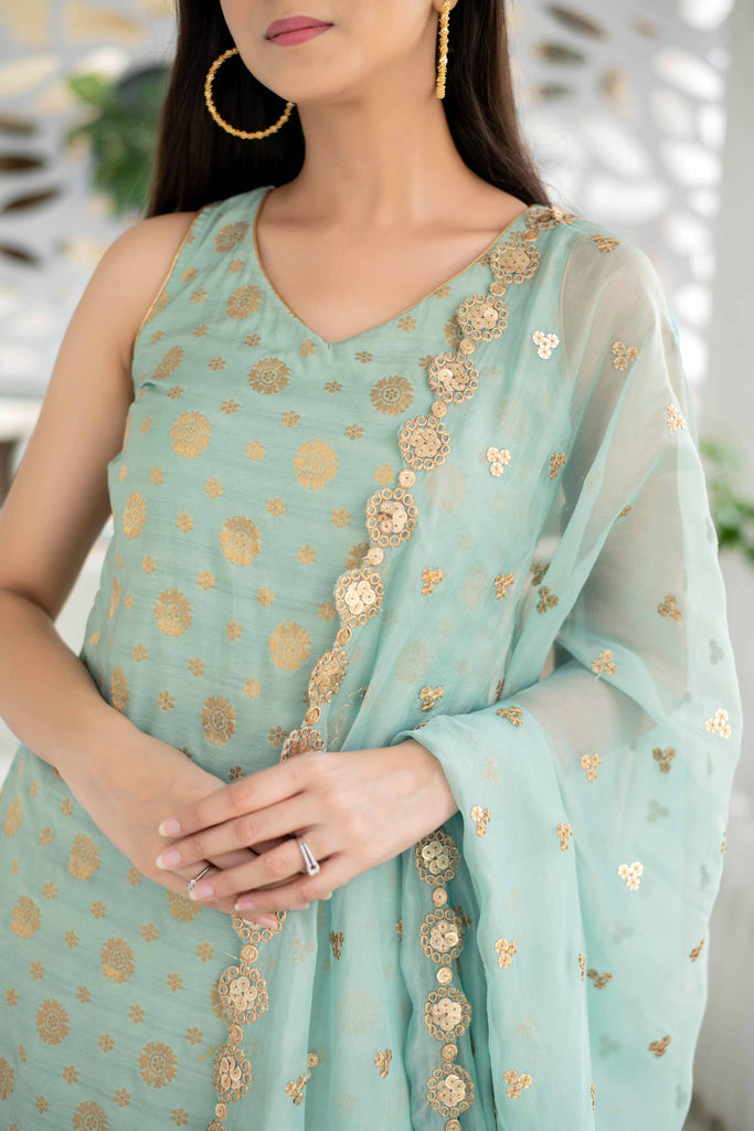 Light Mint Patiala Set With Organza Dupatta