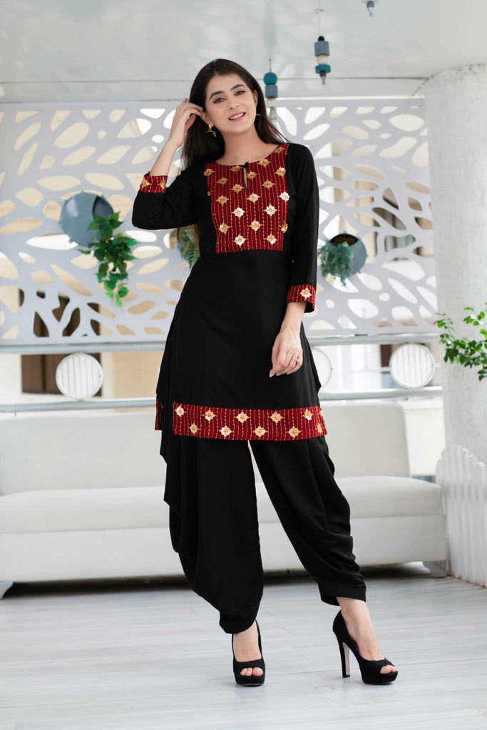Black Patiala Set with Red Neck Work