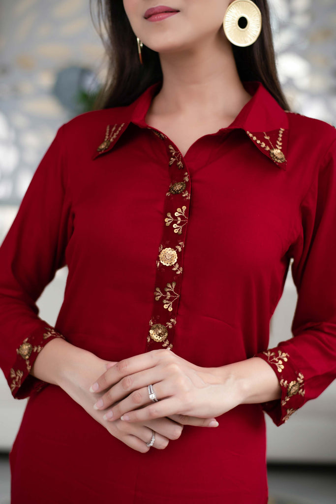 MAROON SEQUIN WORK KURTA SET