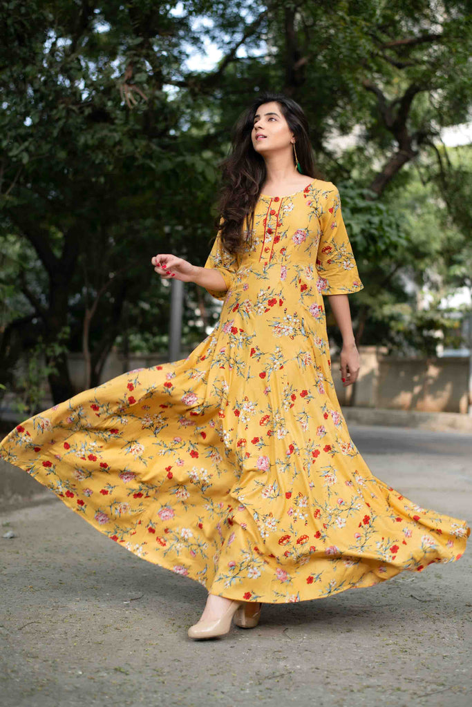 Yellow Floral Affair Gown Dress