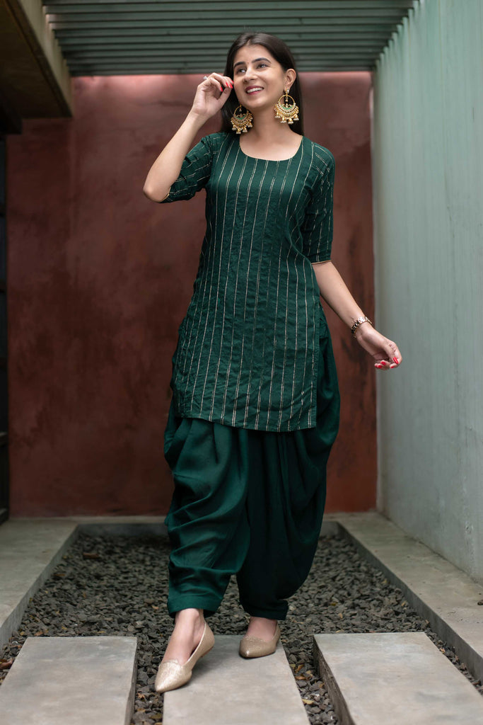 BOTTLE GREEN ZARI WORK PATIALA SET