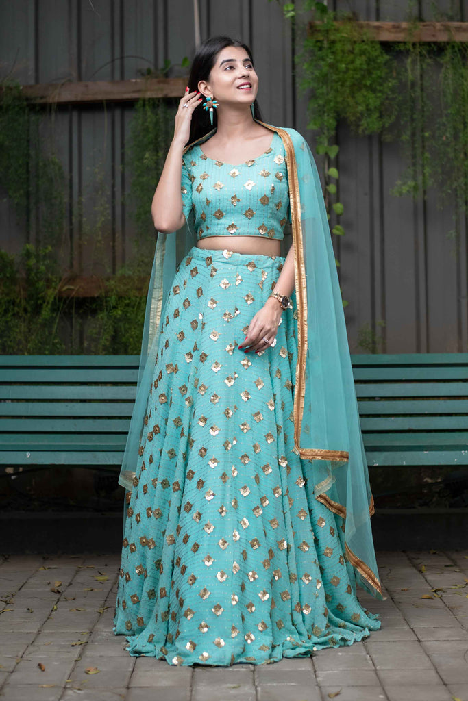 ICE BLUE SEQUIN AND ZARI WORK LEHENGA SET
