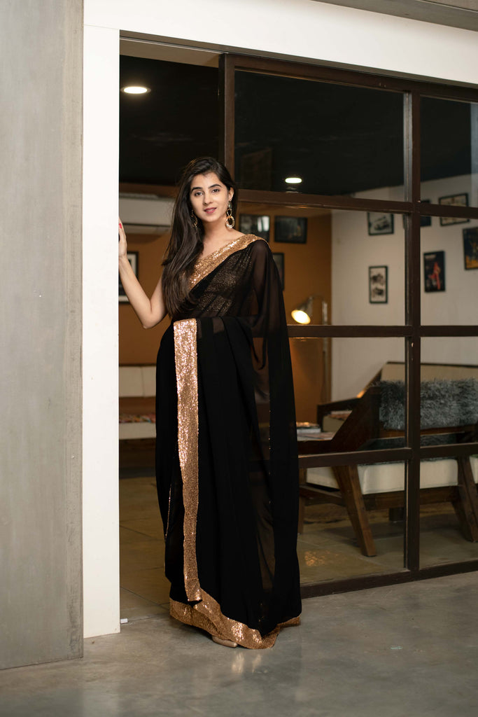 BLACK GEORGETTE SAREE WITH GOLD SEQUIN BORDER WORK WITH BLOUSE