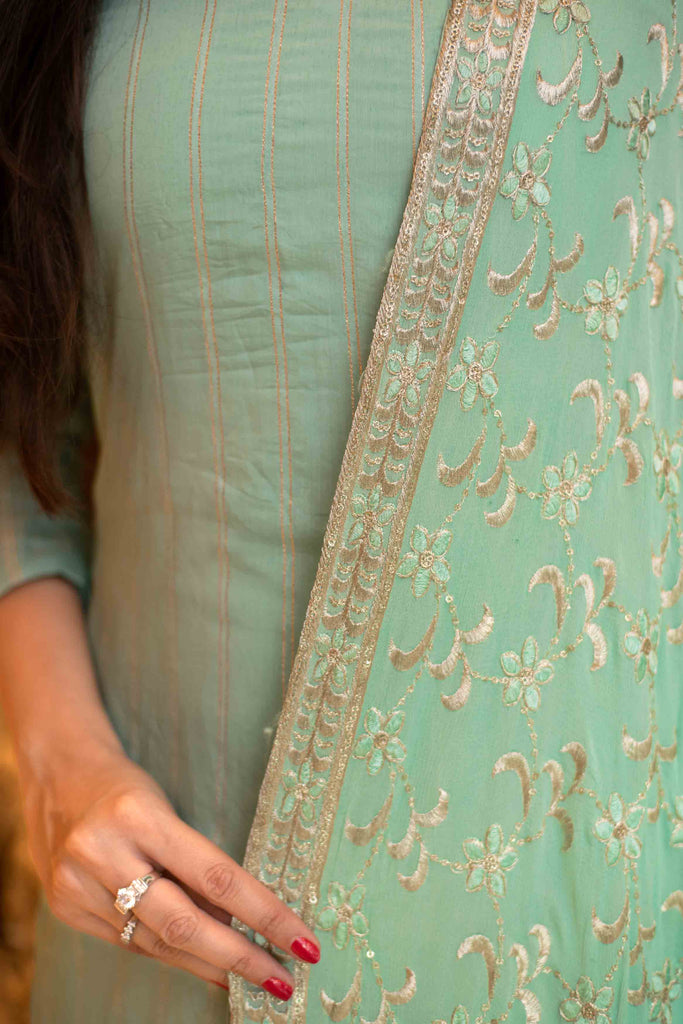 Pista Green Kurta Set with Chinon Heavy Zari Work Dupatta