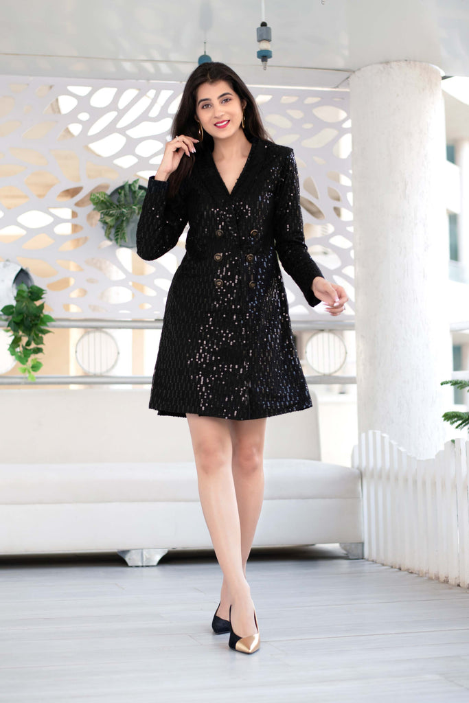 Black Sequin Work Blazer Dress