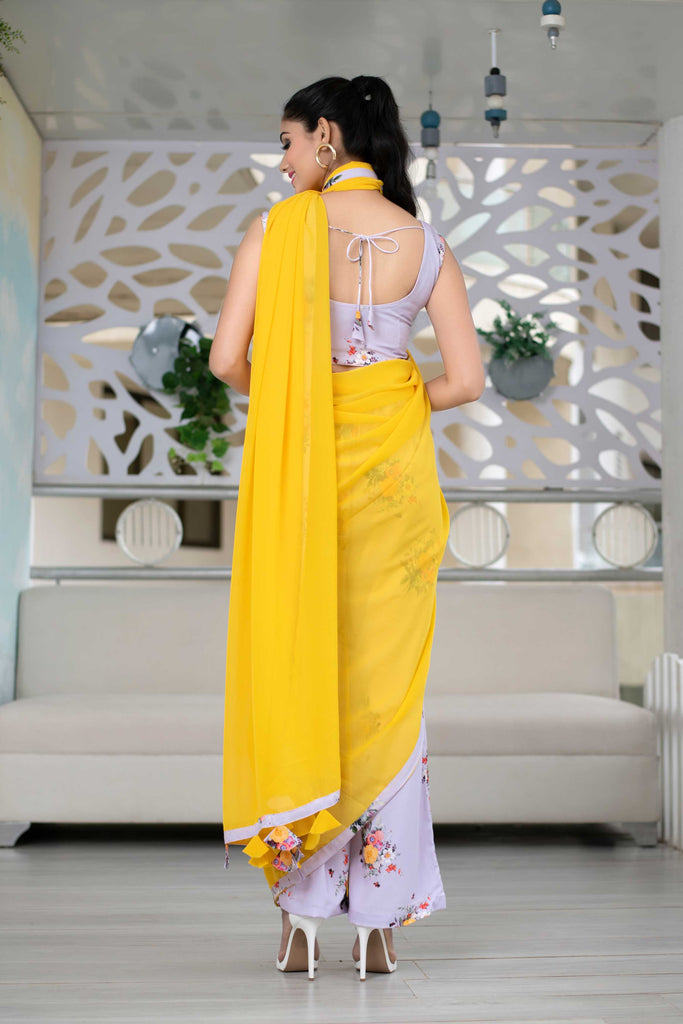 Indo-Western Pant Styled Saree Set of 2