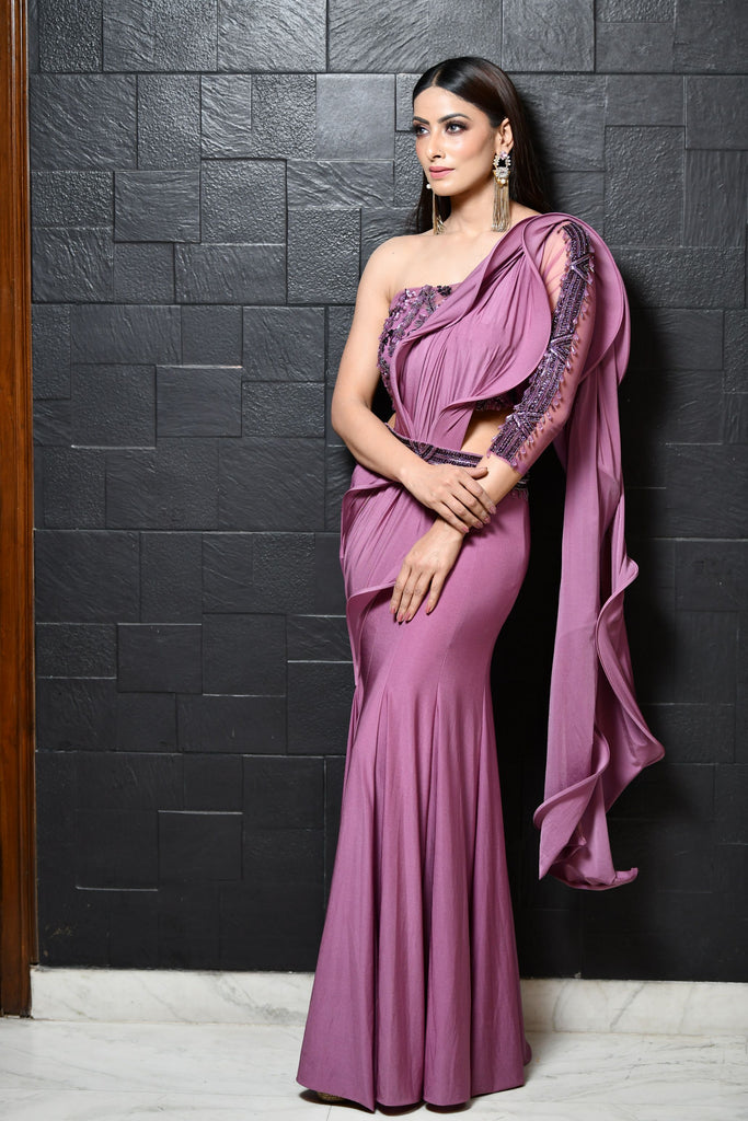 Lilac Belt Saree