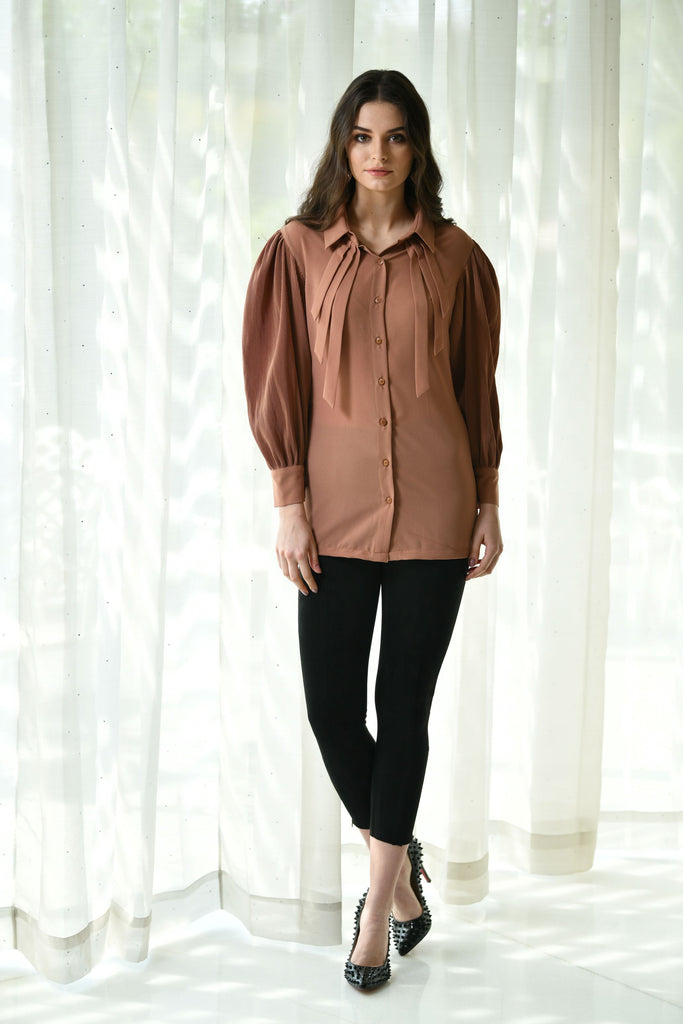 BEIGE PLEATED SLEEVE TOP