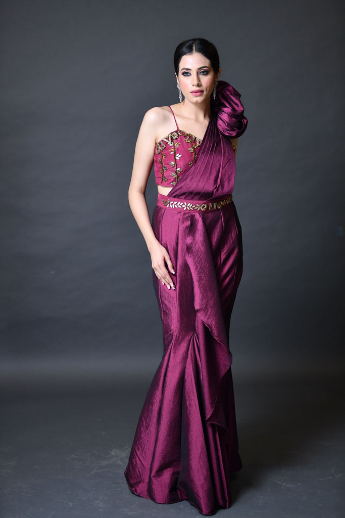 Wine Red Drape Saree