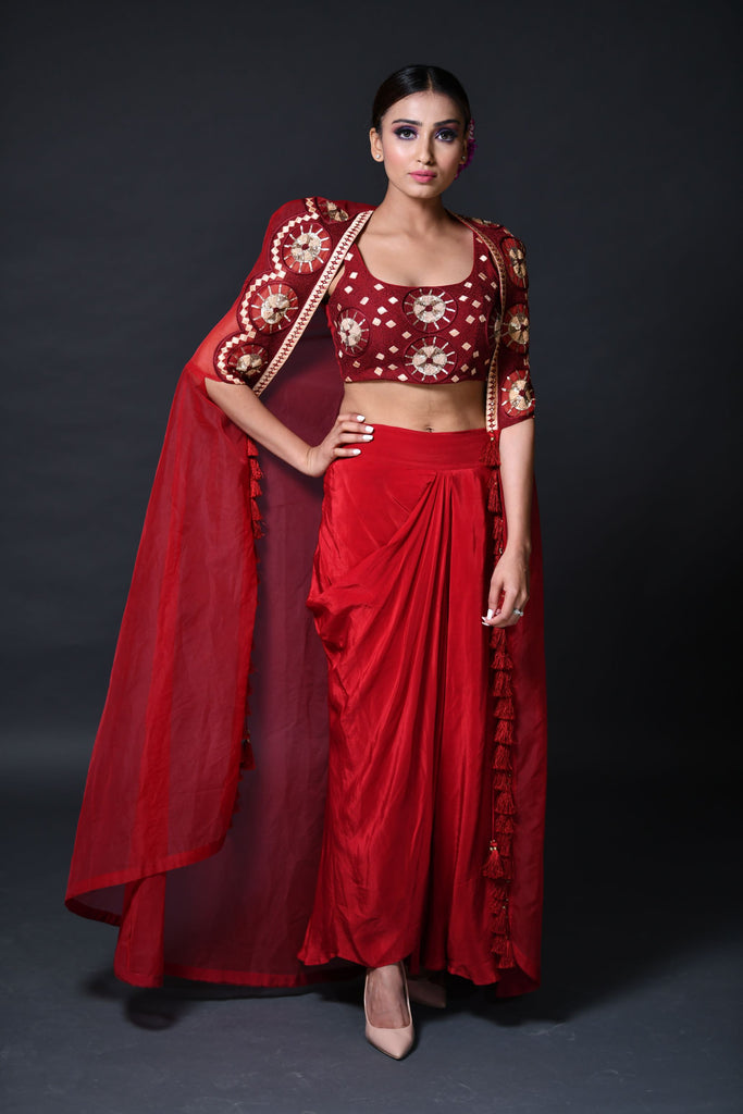 Red Dhoti Suit Set