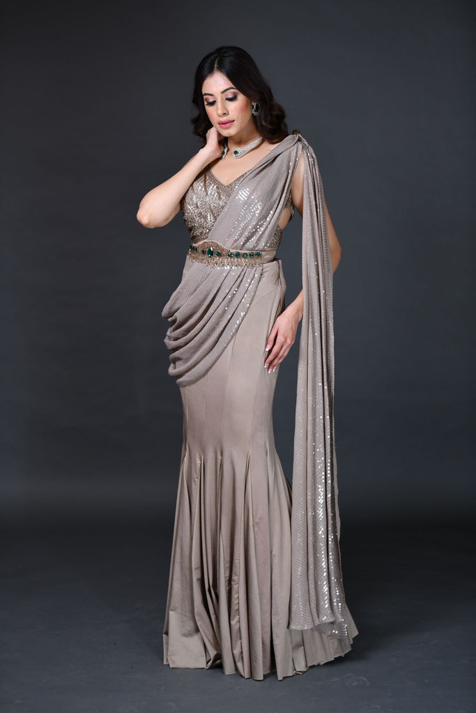 Muse Brown Sequenced Saree