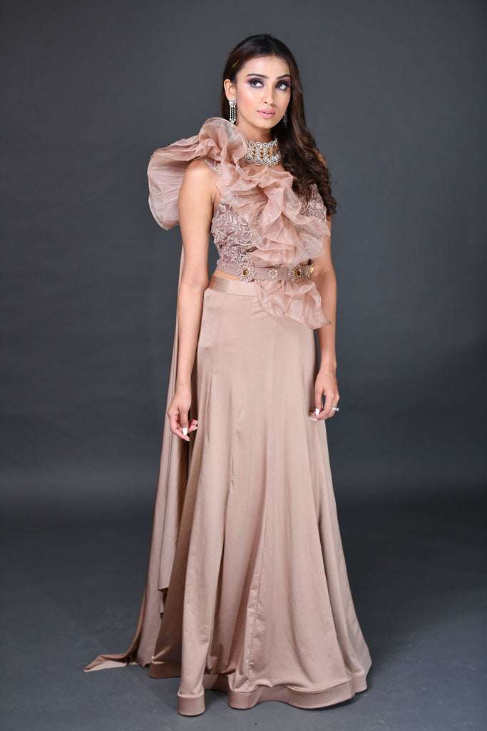 Peach Nude Drape saree
